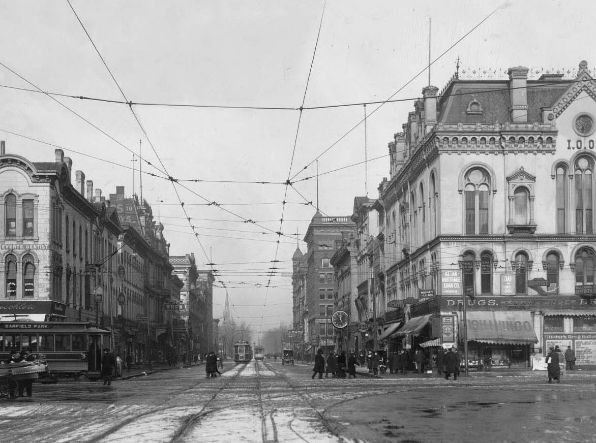 Looking north along Pennsylvania St. from the intersection with Washington St. about 1910