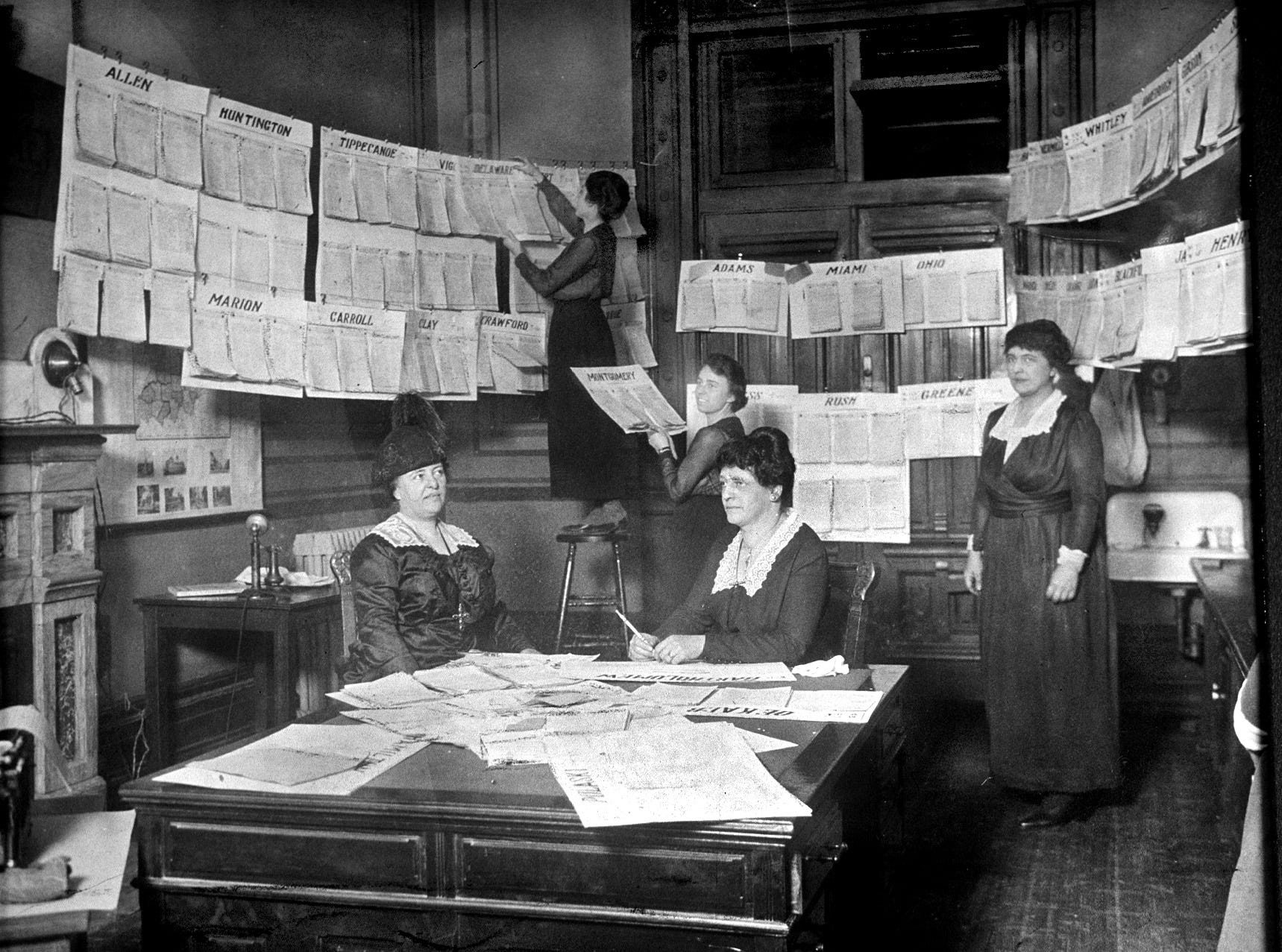 In January 1919, the Women's Franchise League of Indiana displayed petitions from their statewide fall drive for suffrage. The display of petitions lined the walls of the League's headquarters in the Indiana Statehouse. Thousands of men and women signed petitions encouraging legislators to ''take favorable action on woman suffrage.''