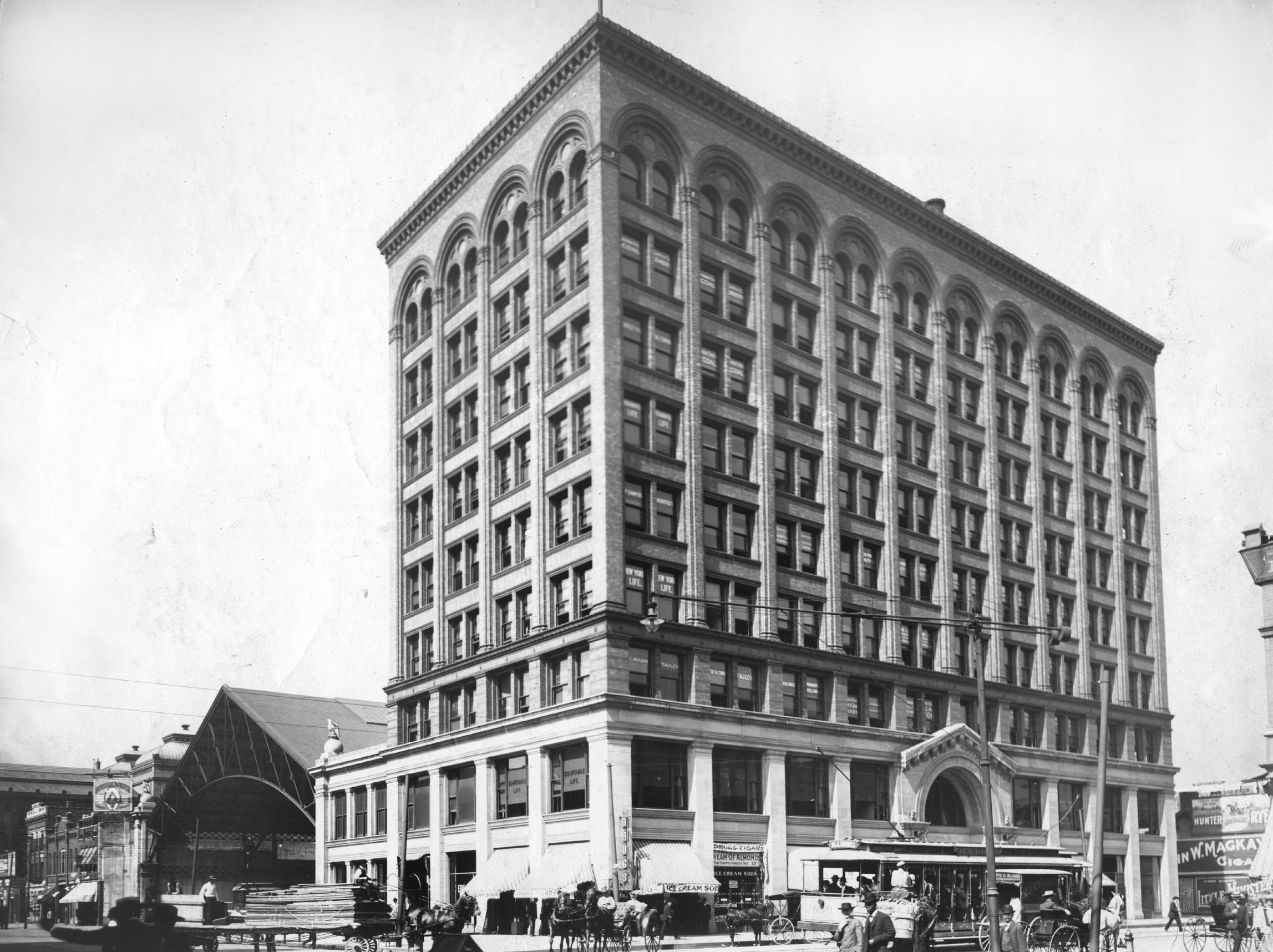 Indianapolis Terminal Building at right and the Terminal Station to the left in 1918 at the northwest corner of Illinois and Market.  When it was built in 1904, the Indianapolis Traction Terminal was the largest interurban station in the world.  The first interurban train entered Indianapolis in 1900 and by 1910, the station was handling nearly 400 trains a day.  Traction Terminal housed nine tracks and also served the Indianapolis streetcar system, allowing for easy transfers between the interurbans and local streetcars.