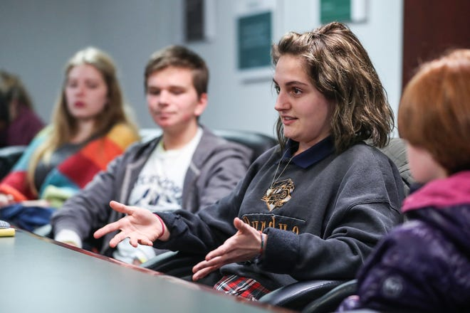 Maddie Swank-Brooks, a 17-year-old senior at Herron High School, and other kids told of their experiences with climate change before attending a community workshop for the Thrive Indianapolis action plan at Eastern Star Church in Indianapolis, Thursday, Nov. 29, 2018. Swank-Brooks was part of the youth-led Climate Recovery Resolution passed by City-County Council in 2017.