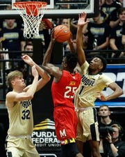 Aaron Wheeler (right) had a breakout game for Purdue against Maryland.