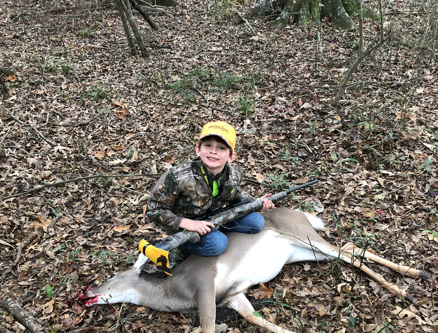 Garrett Sullivan, 8, of Madison, harvested his first deer in Holmes County on Thanksgiving Day.