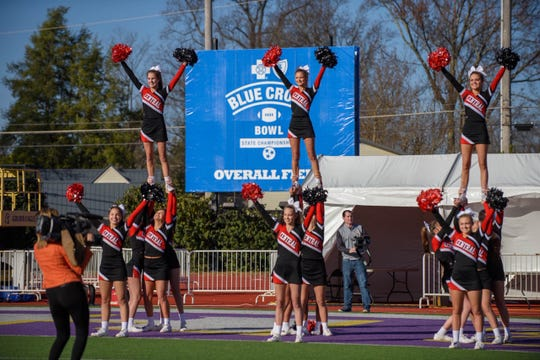 "The game delay did not faze the Central High cheer team's enthusiasm. ""We had an incredible time on the bus trip, we danced, sang and ate,"" said coach Jackie Raley. ""Not having to motivate the girls at all. (The postponement) Saturday night didn't dampen our excitement at all."" Central beat Henry County, 14-9, for the Class 5A state championship Dec. 2, 2018."