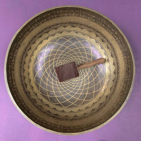 A Tibetan Singing Bowl, available at Go Nutrition Knoxville. The bowls can be played to help clear the air of negative energies.