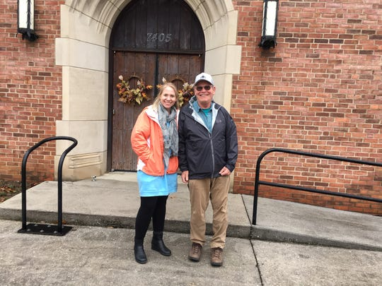 Knox County Stormwater Management project managers Tracy Jones and Roy Arthur in front of Washington Pike Presbyterian Church. The church is a participant in the Roseberry Creek Watershed cost-sharing program. November 30, 2018.