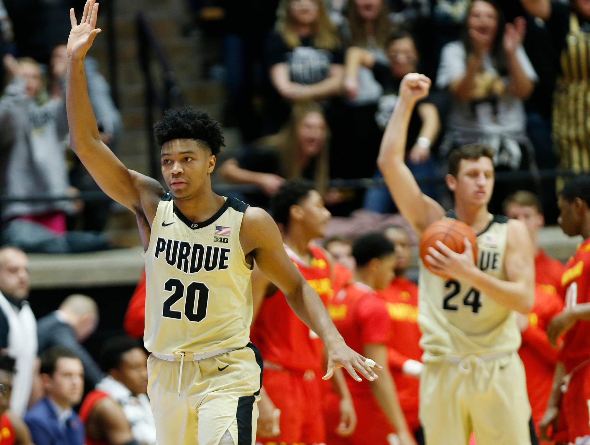 Nojel Eastern of Purdue reacts after blocking the shot of Anthony Cowan Jr. of Maryland as time expires Thursday, December 6, 2018, at Mackey Arena. Purdue defeated Maryland 62-60.