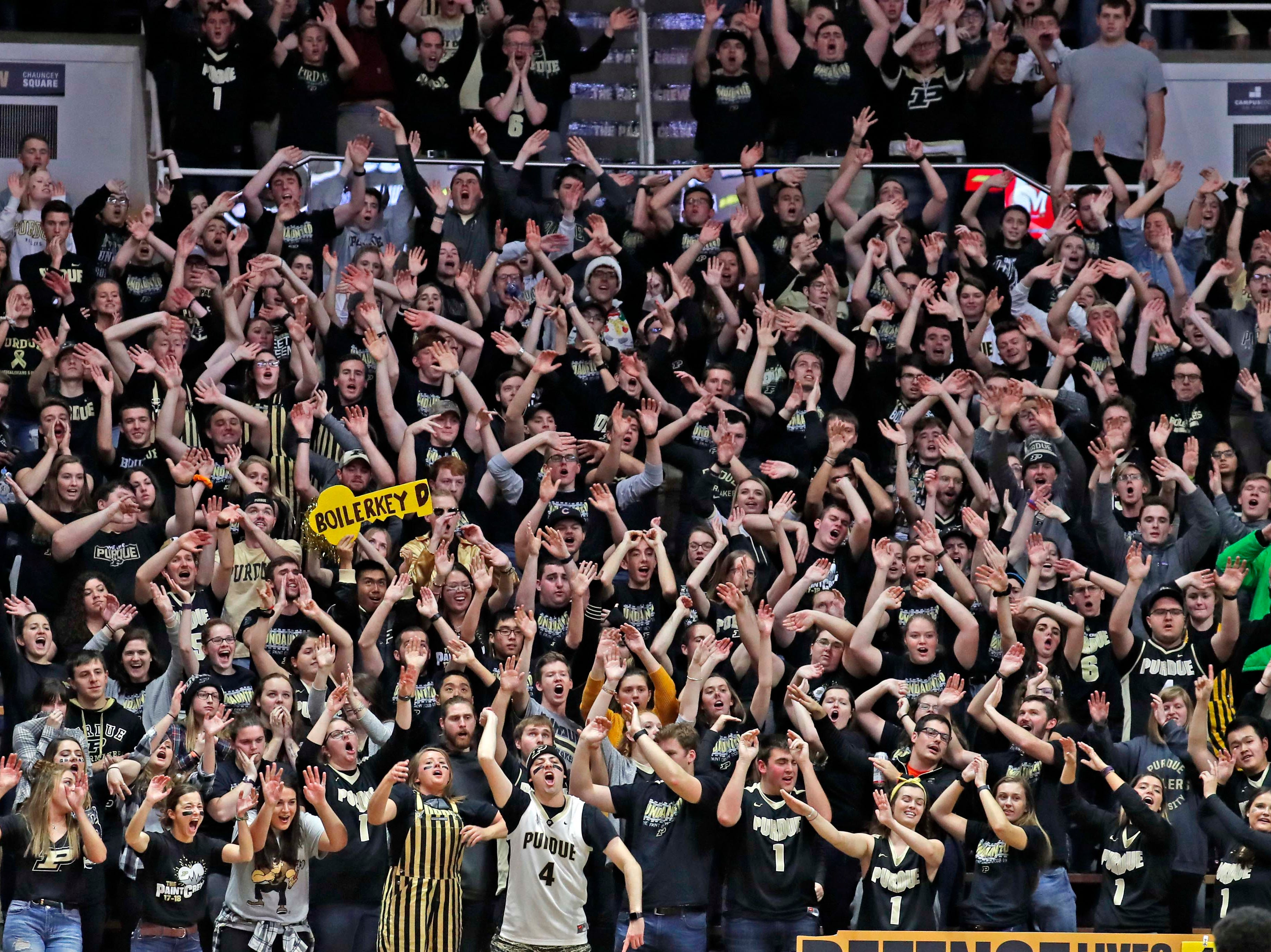Dec 6, 2018; West Lafayette, IN, USA; Purdue Boilermaker fans cheer in a game against the Maryland Terrapins during the second half at Mackey Arena. Mandatory Credit: Brian Spurlock-USA TODAY Sports
