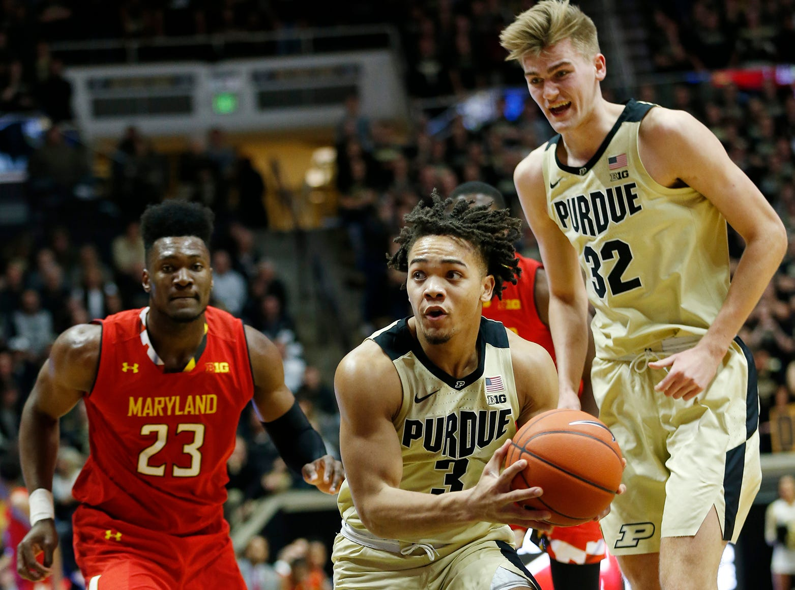 Carsen Edwards of Purdue with a drive to the basket against Maryland Thursday, December 6, 2018, at Mackey Arena. Purdue defeated Maryland 62-60.