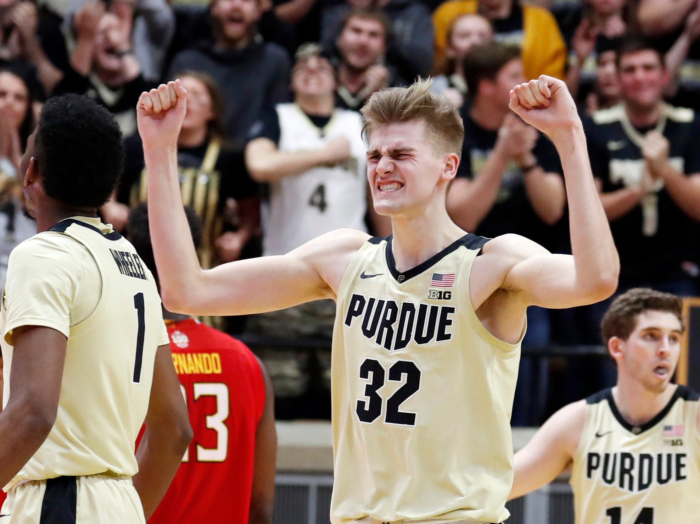 Dec 6, 2018; West Lafayette, IN, USA; Purdue Boilermakers center Matt Haarms (32) reacts to a play against the Maryland Terrapins during the second half at Mackey Arena. Mandatory Credit: Brian Spurlock-USA TODAY Sports
