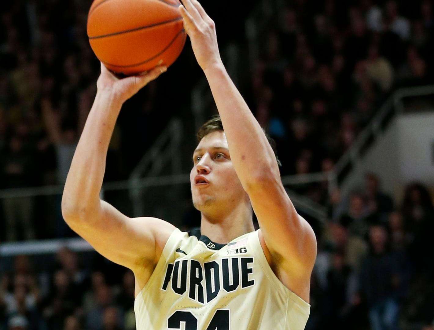 Grady Eifert of Purdue drains a three-point shot to tie the game at 41-41 against Maryland with 14:32 remaining Thursday, December 6, 2018, at Mackey Arena. Purdue defeated Maryland 62-60.