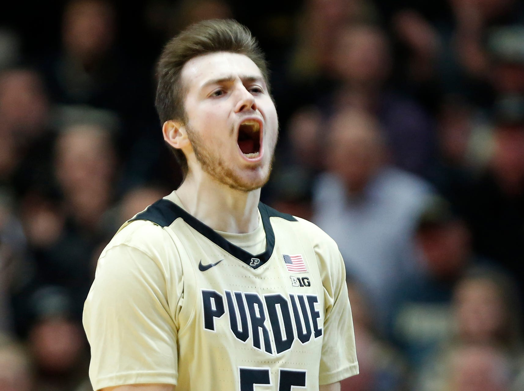 Sasha Stefanovic of Purdue reacts after a Maryland turnover with 11:17 remaining Thursday, December 6, 2018, at Mackey Arena. Purdue defeated Maryland 62-60.