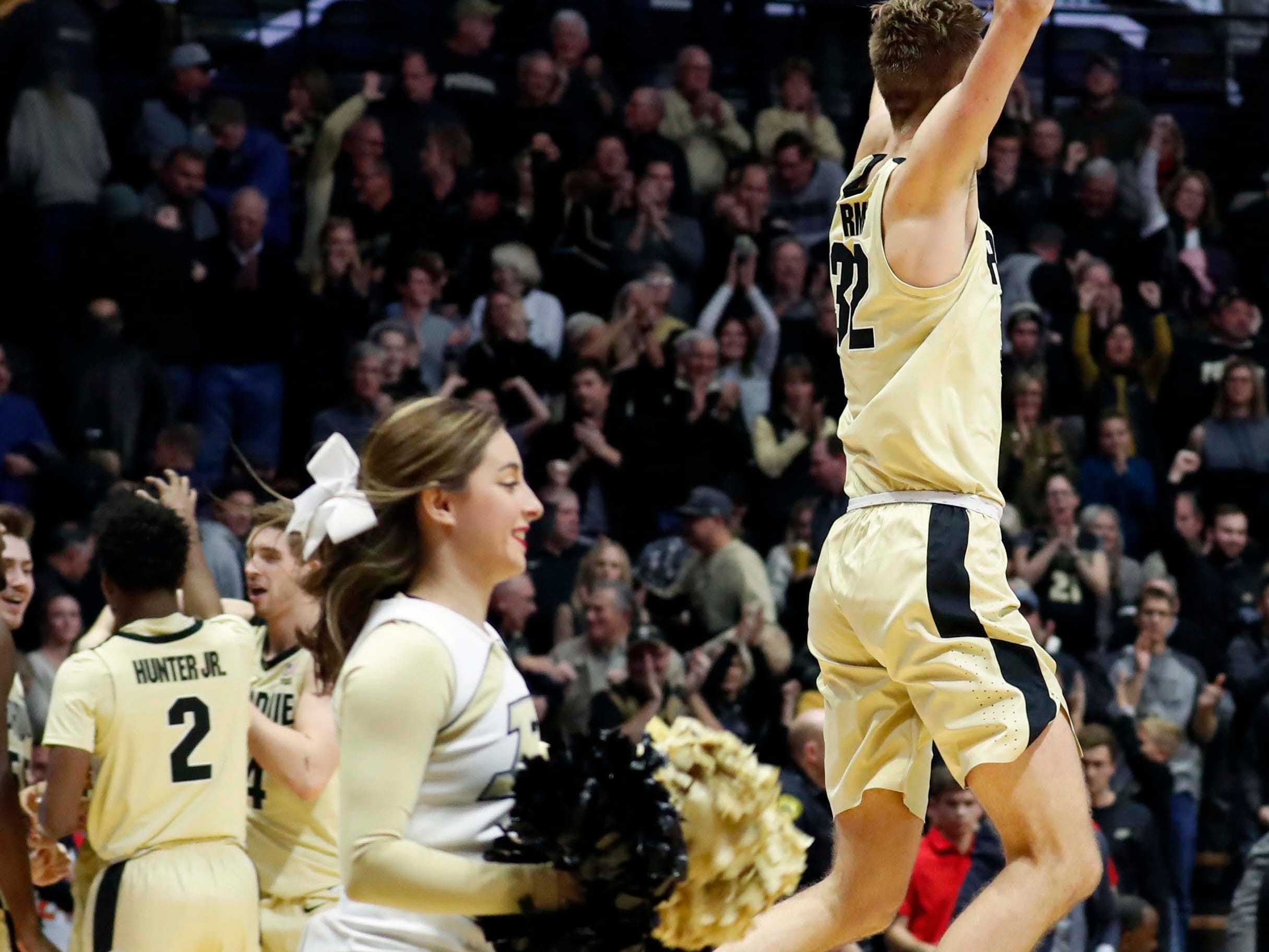 Dec 6, 2018; West Lafayette, IN, USA; Purdue Boilermakers center Matt Haarms (32) reacts after the game to Purdue winning against the Maryland Terrapins at Mackey Arena. Mandatory Credit: Brian Spurlock-USA TODAY Sports
