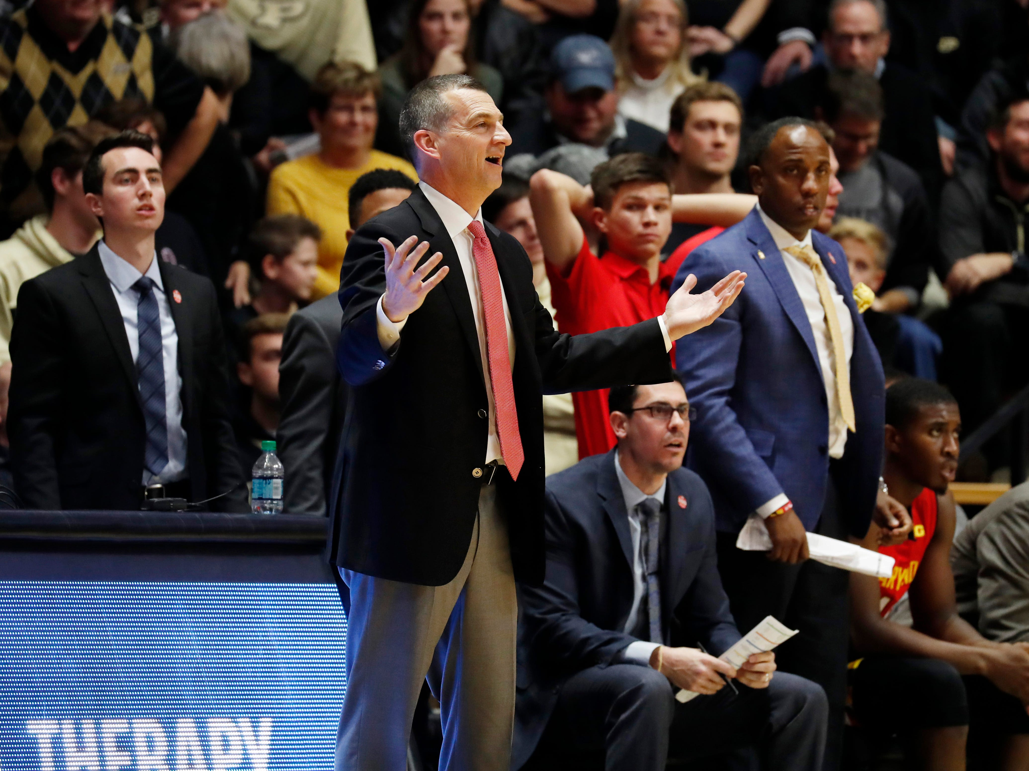 Dec 6, 2018; West Lafayette, IN, USA; Maryland Terrapins coach Mark Turgeon coaches on the sidelines in a game against the Purdue Boilermakers during the second half at Mackey Arena. Mandatory Credit: Brian Spurlock-USA TODAY Sports