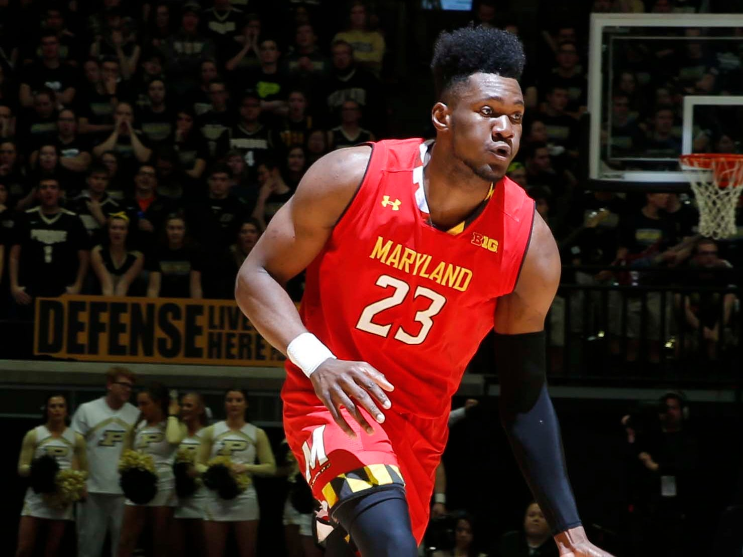Dec 6, 2018; West Lafayette, IN, USA; Maryland Terrapins forward Bruno Fernando (23) drives towards the basket against the Purdue Boilermakers during the first half at Mackey Arena. Mandatory Credit: Brian Spurlock-USA TODAY Sports