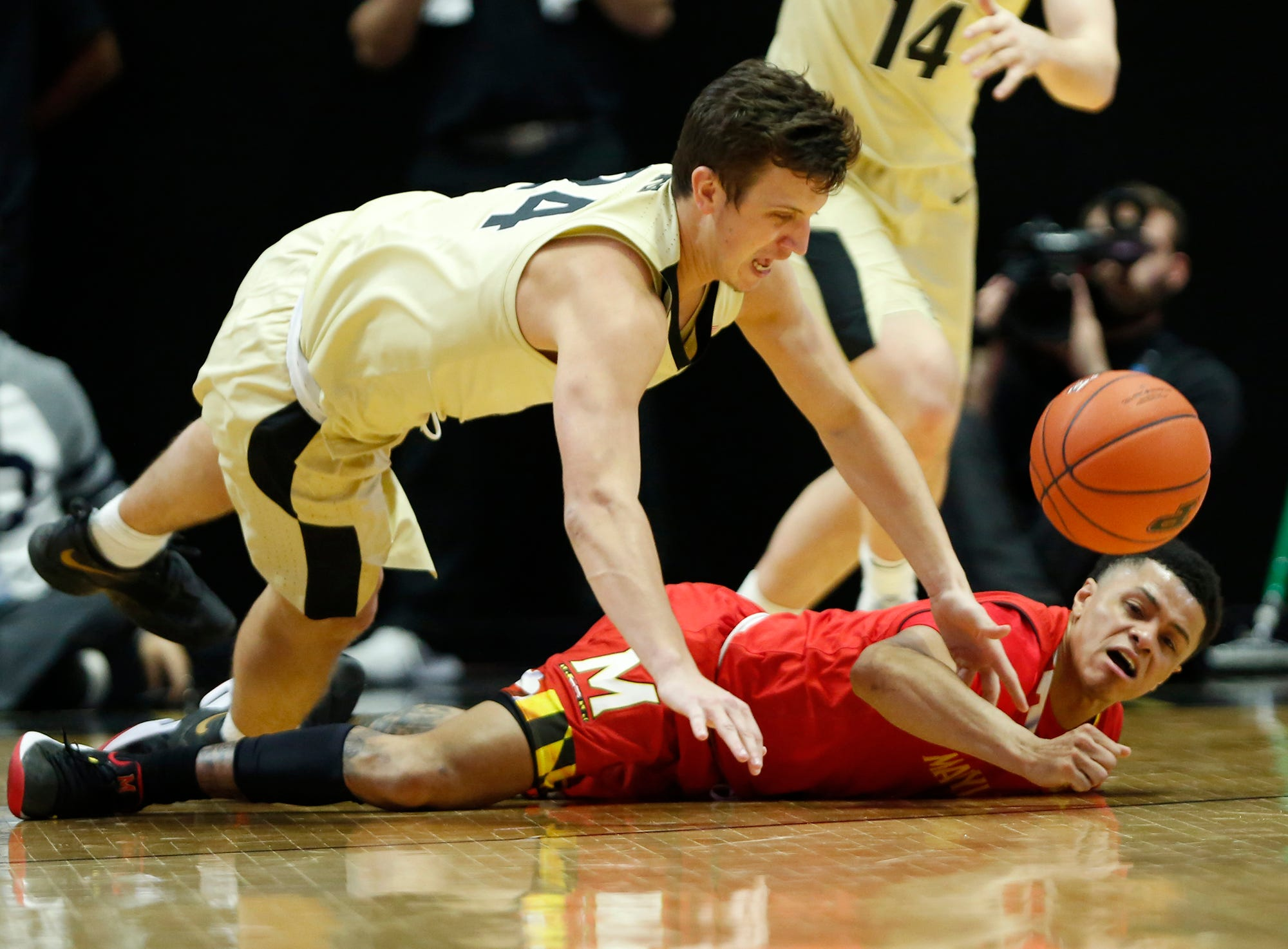 Grady Eifert of Purdue steals the ball from Anthony Cowan Jr. of Maryland Thursday, December 6, 2018, at Mackey Arena. Purdue defeated Maryland 62-60.