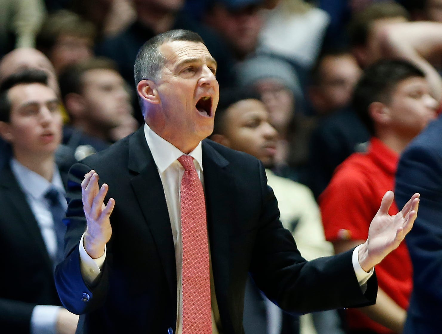 Maryland head coach Mark Turgeon reacts as Anthony Cowan Jr. is fouled with second remaining against Thursday, December 6, 2018, at Mackey Arena. Turgeon claimed Cowan was shooting a three-point shot when he was fouled. Purdue defeated Maryland 62-60.