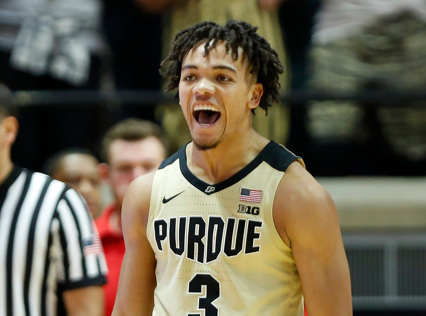 Carsen Edwards of Purdue reacts after teammate Grady Eifert knocked down a three-point shot to tie the game at 41-41 against Maryland with 14:32 remaining Thursday, December 6, 2018, at Mackey Arena. Purdue defeated Maryland 62-60.