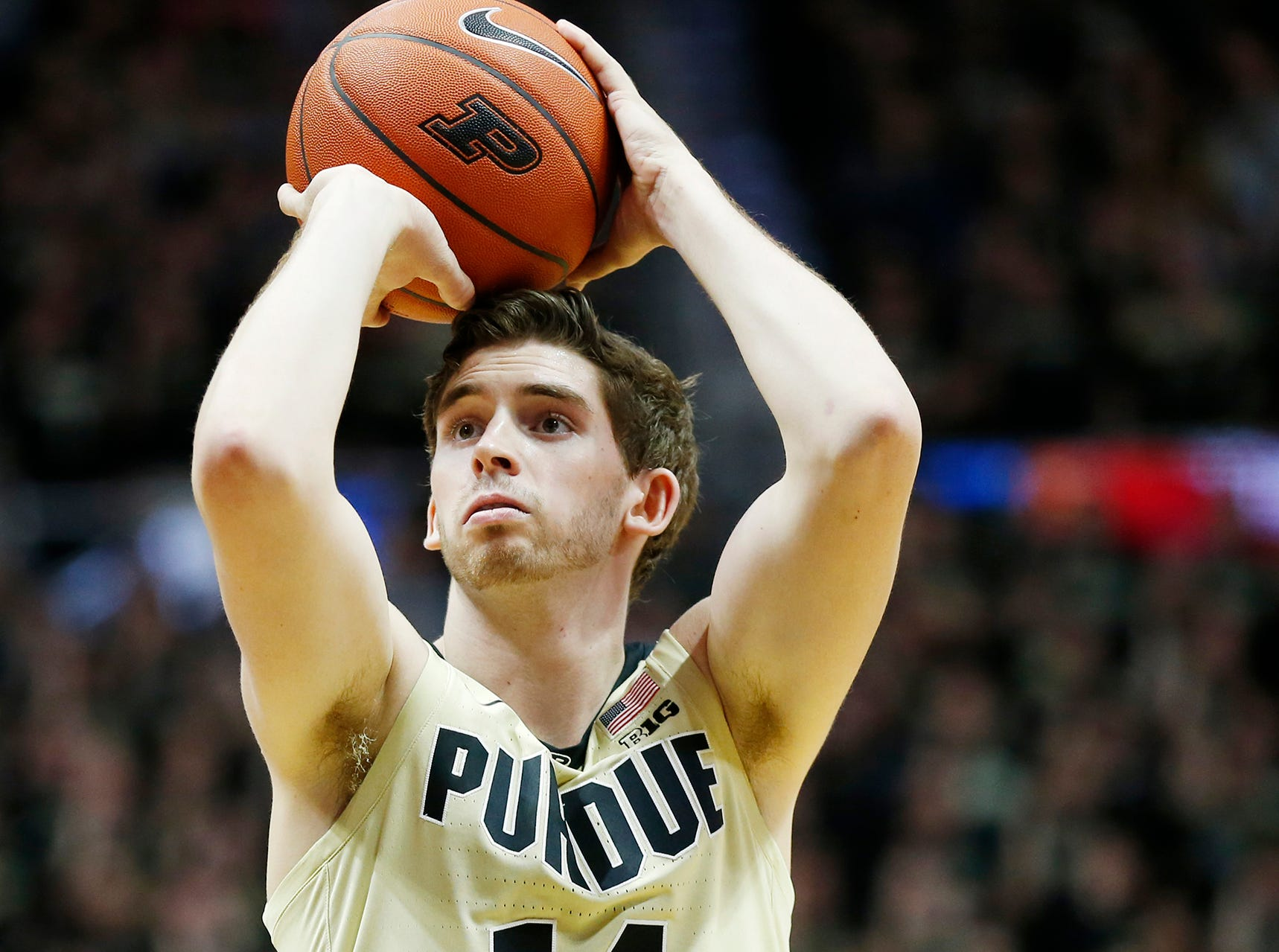 Ryan Cline of Purdue with a free throw attempt against Maryland Thursday, December 6, 2018, at Mackey Arena. Purdue defeated Maryland 62-60.
