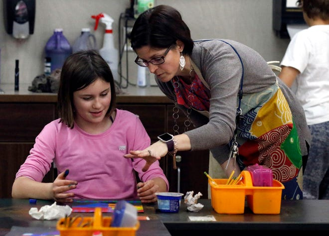 Jennifer Appelfeller, right, works with students on a Sandra Silberzweig-inspired self-portrait Friday, Nov. 30, 2018, at Mount Pleasant Elementary in Lancaster.
