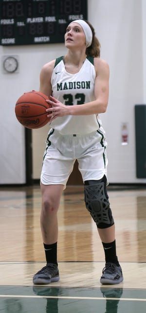Madison's Rebecca Phelps shoots from the free throw line while playing against Mansfield Senior earlier in the season. The Lady Rams made a huge jump in the Richland County Girls Basketball Power Poll.