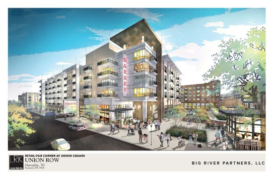A rendering shows the proposed Union Row development in downtown Memphis.