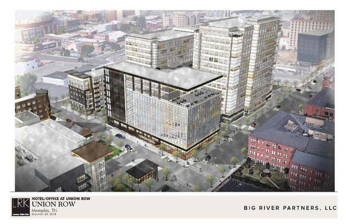 Renderings of the proposed Union Row development in downtown Memphis.