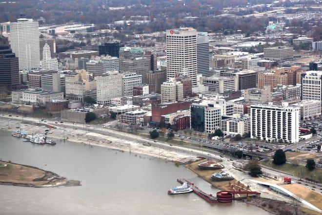 Aerial view of Downtown Memphis Monday Dec. 3, 2018.