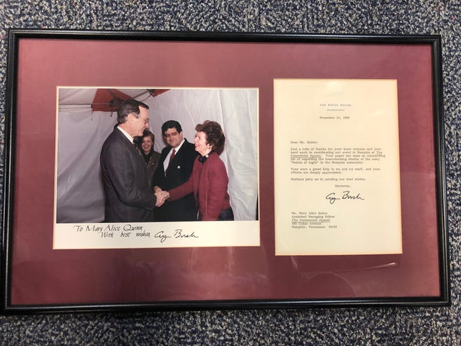Mary Alice Quinn got to shake hands with President George H.W. Bush before he spoke on the lawn of The Commercial Appeal in 1989.