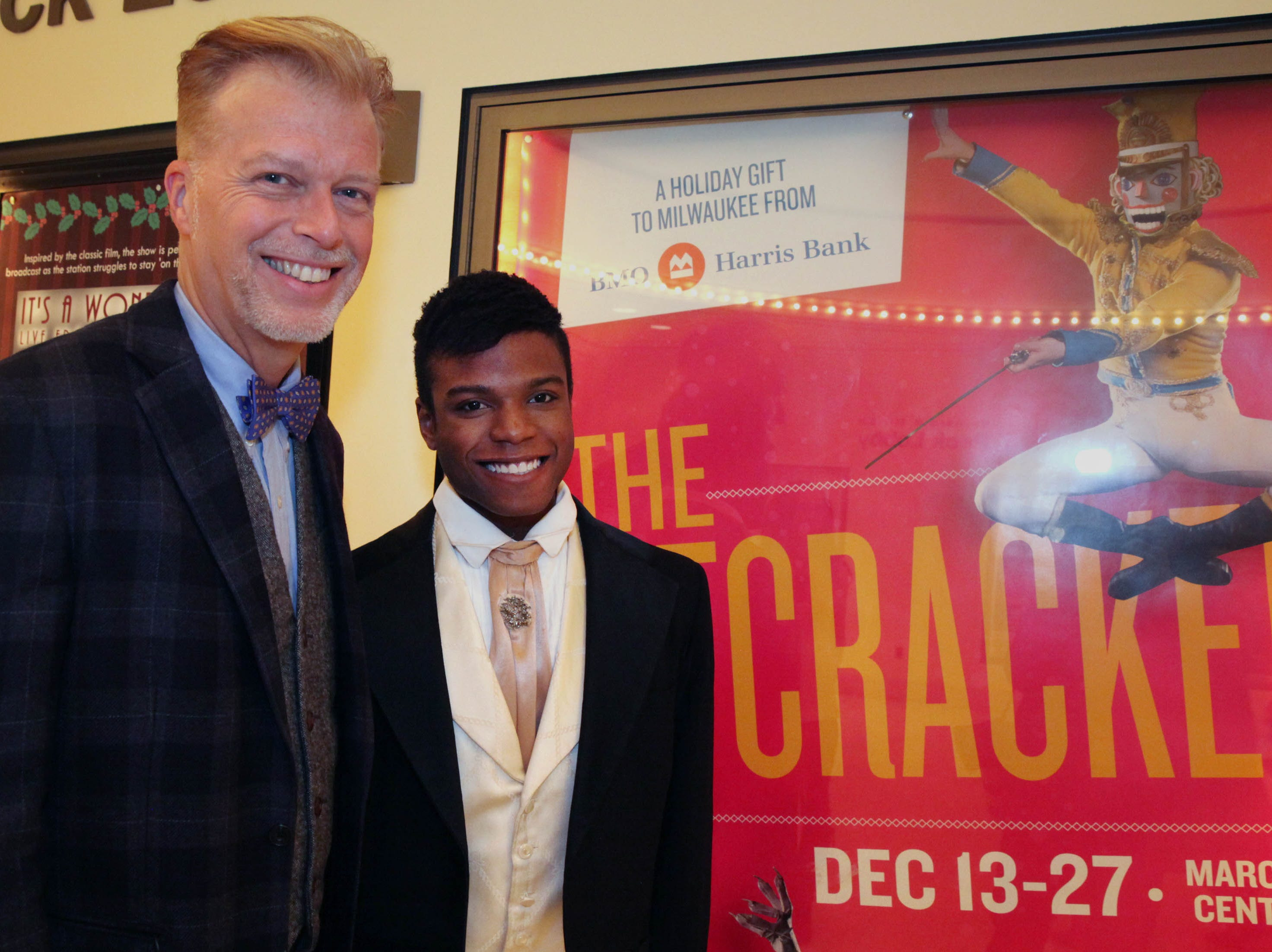 """Acee Laird, 23, a Milwaukee kid from the streets, with his adopted father Allan Laird. They gathered for a picture before Acee performs  in The Nutcracker at the Marcus Center for the Performing Arts.  Laird has a remarkable story about getting into the Milwaukee Ballet's training league team (it's called Milwaukee Ballet II, and it's the training grounds for young people to try to become professional dancers. It's an apprenticeship program run a little big like dancer's college). Laird is a former MPS student, who was adopted by a special education teacher he grew to know at Sherman Elementary School when he was about 11. His father, Allan Laird, fought the courts to adopt Acee, who was living in an abusive home.  He then proceeded to not only help Acee learn how to read and write, which he barely knew how to do in middle school, but how to chase a dream. Laird helped Acee enroll in ballet, which he fell in love with, and after fast-tracking through the stages, Acee finally made it into the ballet's """"B"""" company in 2014. He's in the Nutcracker through the end of the month in a variety of roles, and hopes to apply for jobs as a professional dancer after his apprenticeship at Milwaukee Ballet ends."""