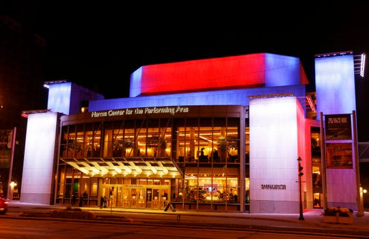 The Marcus Center for the Performing Arts is awash in red, white and blue filtered light to honor those killed in terrorists attacks in Paris. Saturday, November 14, 2015. Milwaukee Journal Sentinel photo by Rick Wood. RWOOD@JOURNALSENTINEL.COM