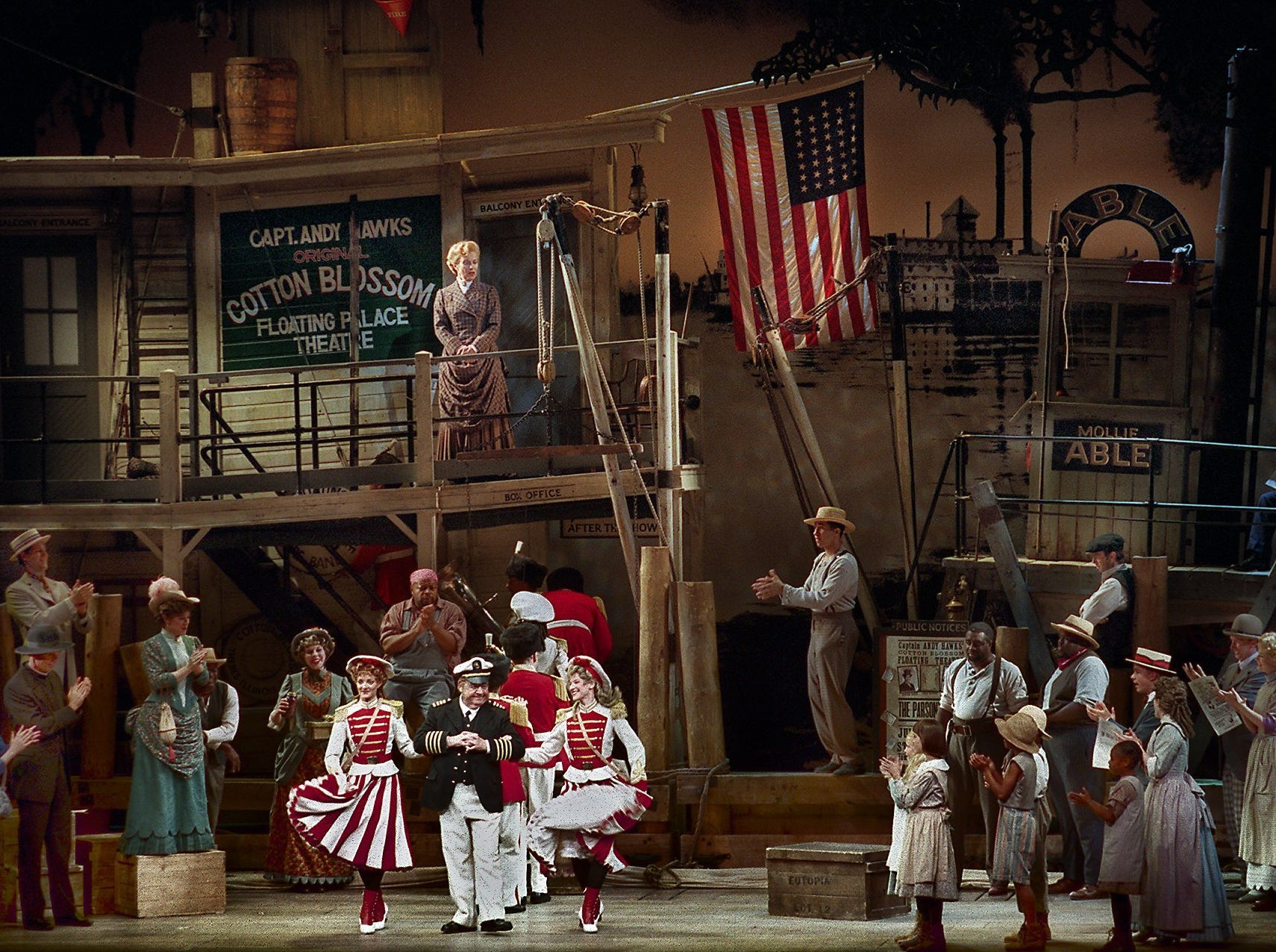 Actor Tom Bosley plays Capt. Andy Hawks (dancing, center) in Show Boat which is being performed at the Marcus Center for the Performing Arts in Milwaukee, WI., July 19, 1998.