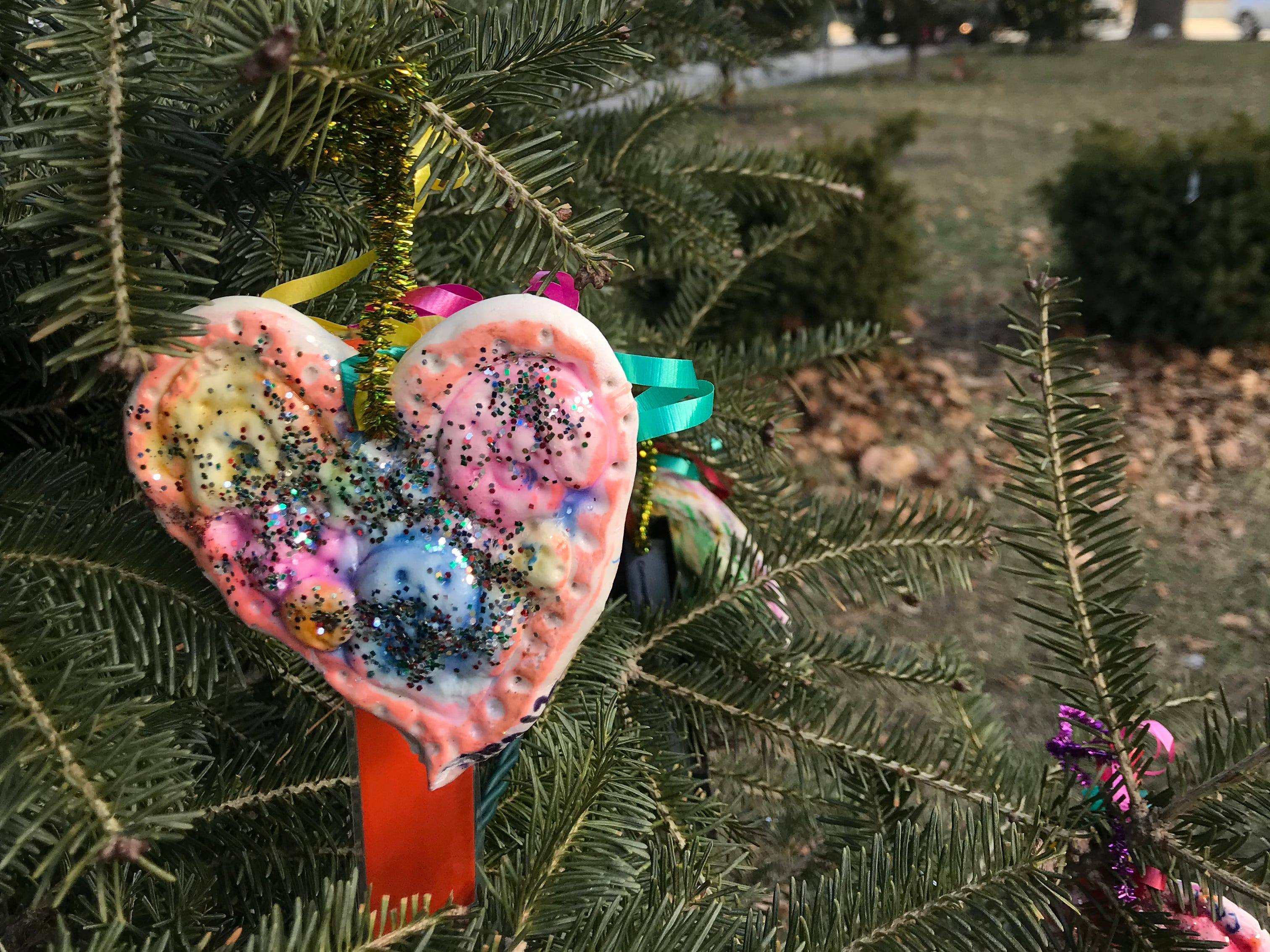 Students from Fernwood Montessori made handmade heart-shaped ornaments. These are on display at Cathedral Square Park.