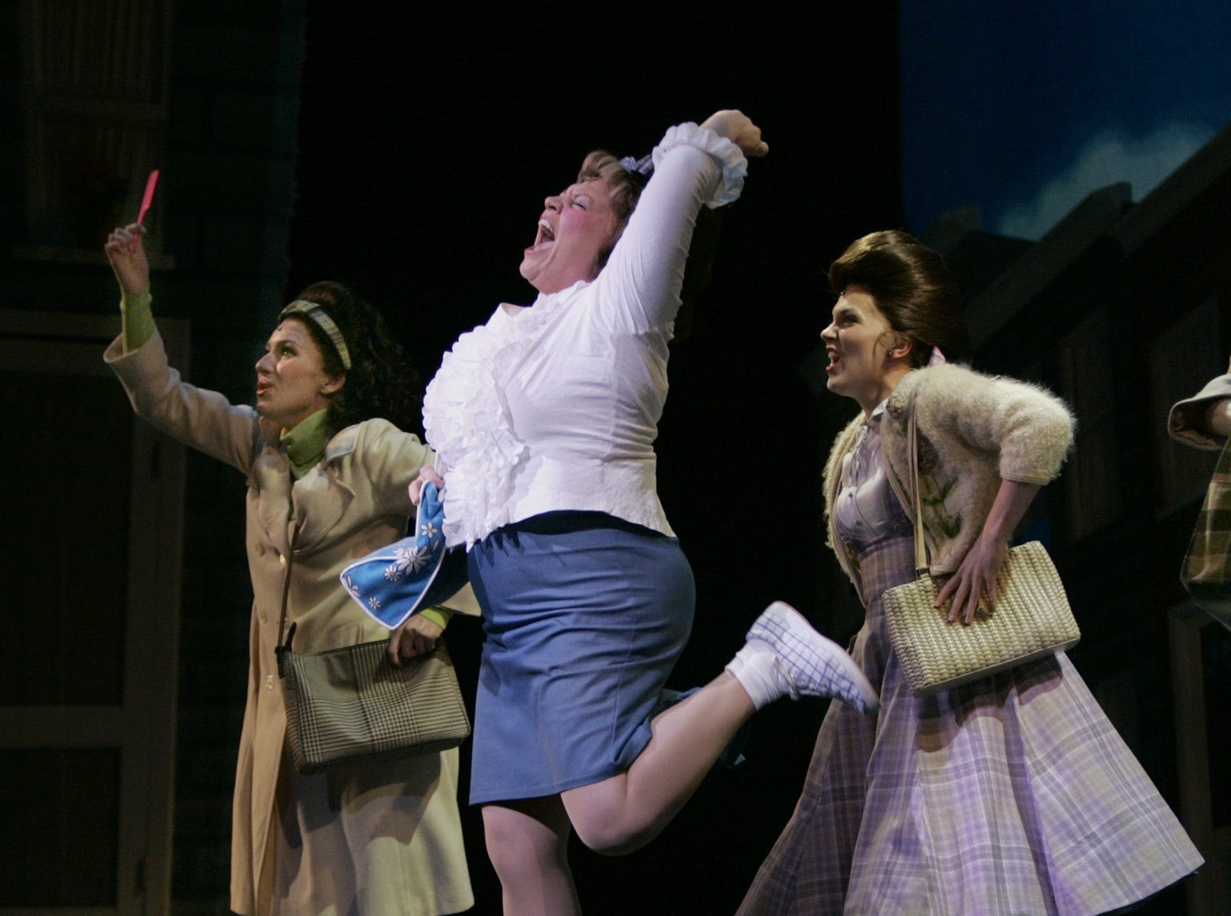 """HAIR19. NEWS, KAS, 2- Keala Settle, (center in white) portrays Tracy Turnblad in """"Hairspray"""" at the Marcus Center for the Performing Arts, 929 N. Water Street, Milwaukee, Tuesday, May 17, 2005.  Photograph by Karen Sherlock"""