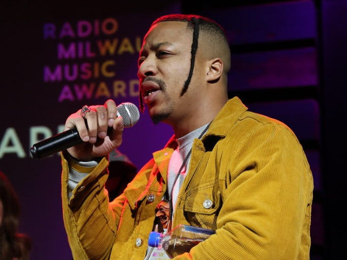 """Rapper Lorde Fredd33 accepts the Radio Milwaukee Music Award Thursday for Critics Choice Album Of The Year, for """"NORF: The Legend of Hotboy Ronald."""" It also won album of the year."""