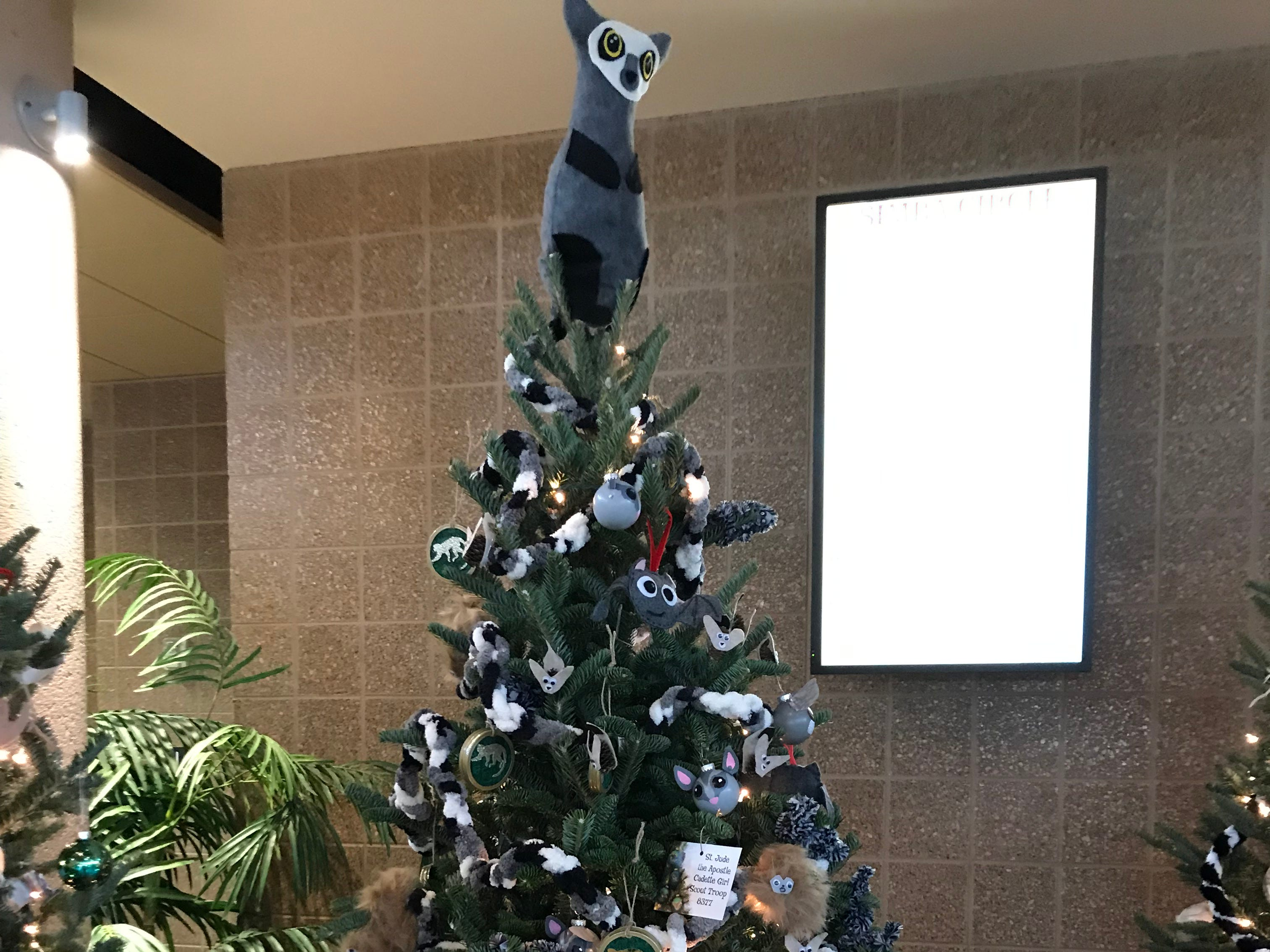 The Falls Busy Beavers 4-H Club decorated this tree in the small mammal area of the Christmas trees at the zoo.