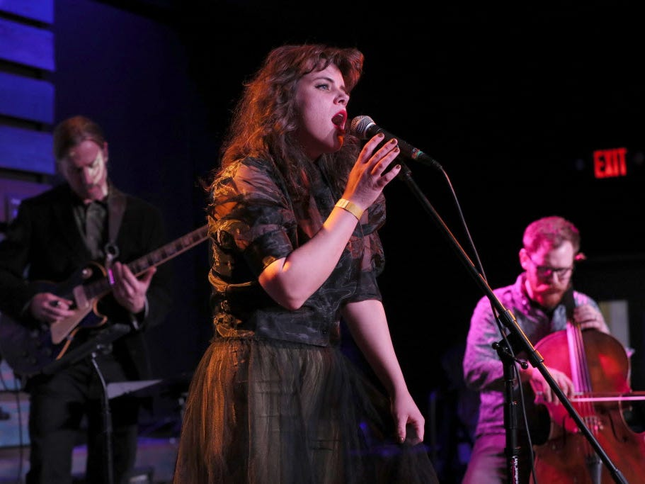 Milwaukee singer Amanda Huff performs at the Radio Milwaukee Music Awards Thursday.  She won the most awards of the night with three, including for solo artist, album artwork and music video.