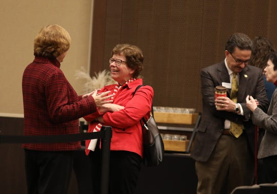 UW-Madison Chancellor Rebecca Blank (center) at the University of Wisconsin System Board of Regents meeting on the UW-La Crosse campus.