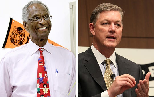 Howard Fuller (left), former MPS superintendent and school choice advocate, and Tim Sheehy (right), head of the Metropolitan Milwaukee Association of Commerce.