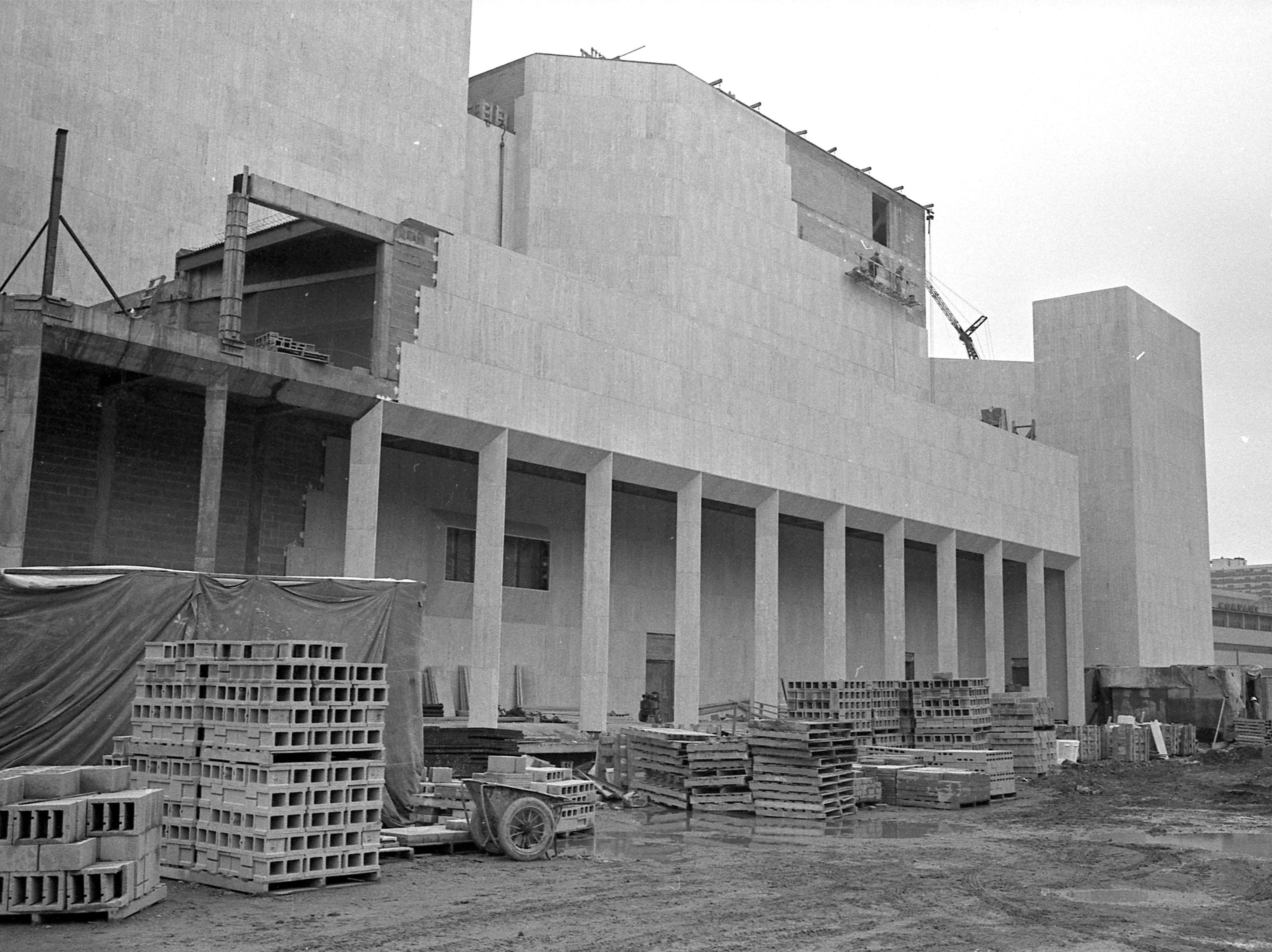 35mm film negative of the construction of the Performing Arts Center (Now Marcus Center for the Performing Arts). This photo shows the south side of the building along Kilbourn Ave. PAC. Photo was filed 6/1/1968.  transparency folder #681102