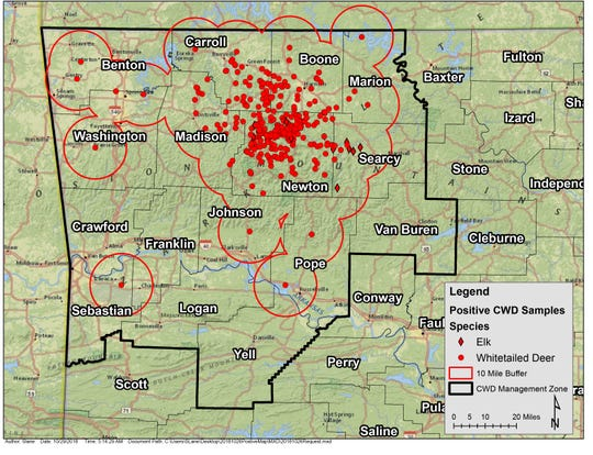This map from the Arkansas Game and Fish Commission shows the location of deer that were identified with Chronic Wasting Disease through the end of October in Arkansas.