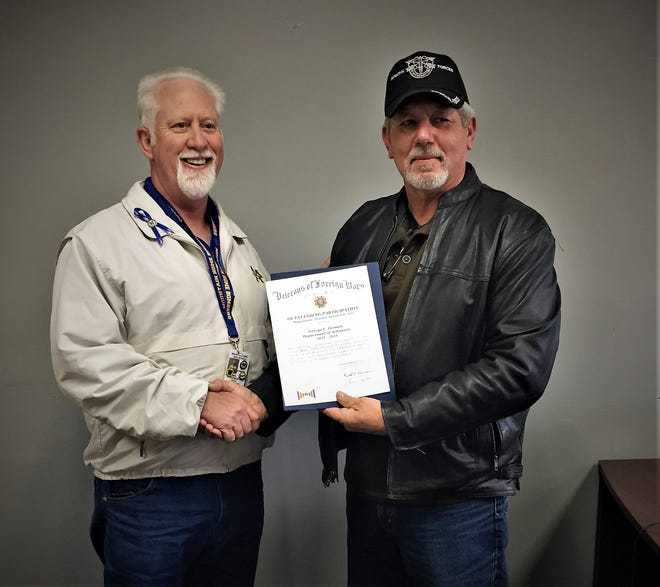 """George """"Bud"""" Zorman (left), ROTC Mentor at Mountain Home High School, was recently recognized by the VFW Nationa as an Outstanding Participant and Student Mentor for 2017-18. Pictured with Zorman isMountain Home VFW Post 3246 Commander, Ronnie Young."""