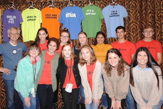 """On Nov, 29, the Rotary Club of Mountain Home hosted the 13 area students who recently attended """"RYLA"""" (Rotary Youth Leadership Awards).The students were the guests at the club meeting, where they each spoke about their personal experiences at the leadership camp. Pictured are: (first row, from left)Courtney Benedict, CIT Marcella Schlote, Gabriella Balmer, Kennedy Wyatt, Daisy Woodbury,CIT Kelsey Pinn,(second row) Club coordinator Rick Steiner, Christianne Crunkleton, Emily Montgomery, Kaylee Middleton, Charlotte Watson, Gannon Connelleyand Shadd Darracq.Not pictured: CIT Kyra Pinn.Funds raised from this year's Rotary Pancake Day helped the club send the high school students from Mountain Home and Cotter to a four-day camp in Oklahoma, where they learned about developing self-discipline, goal-settingand building self-confidence."""