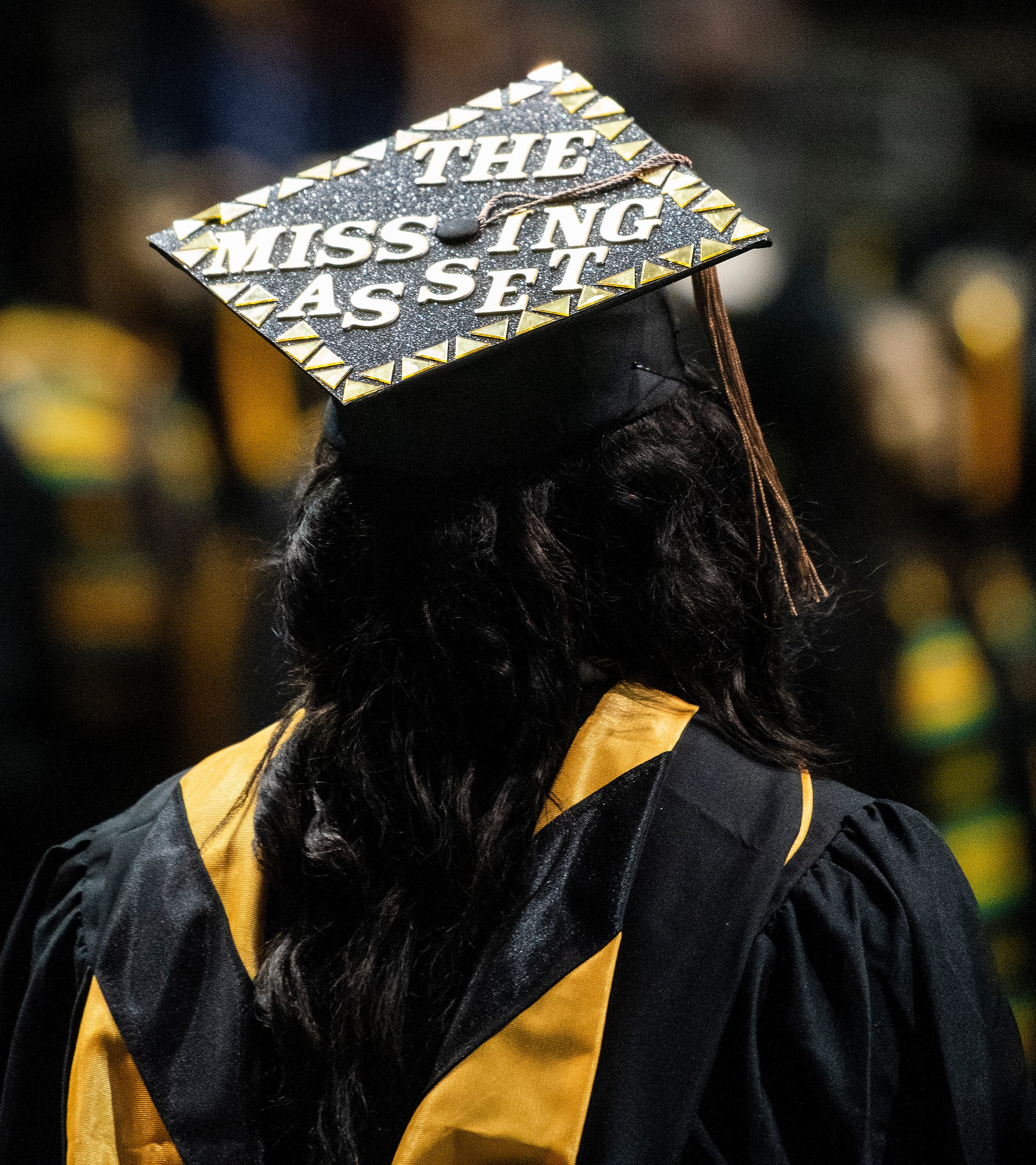 Decorated mortar boards during the Alabama State University Commencement Ceremony in the Acadome on the ASU campus in Montgomery, Ala., on Friday December 7, 2018.