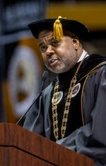 Alabama State University President Quinton Ross speaks at ASU's Commencement Ceremony in the Acadome on the ASU campus in Montgomery, Ala., on Friday December 7, 2018.
