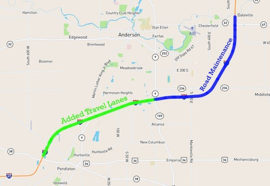 Construction work on Interstate 69 between Pendleton and Daleville will continue through 2019.