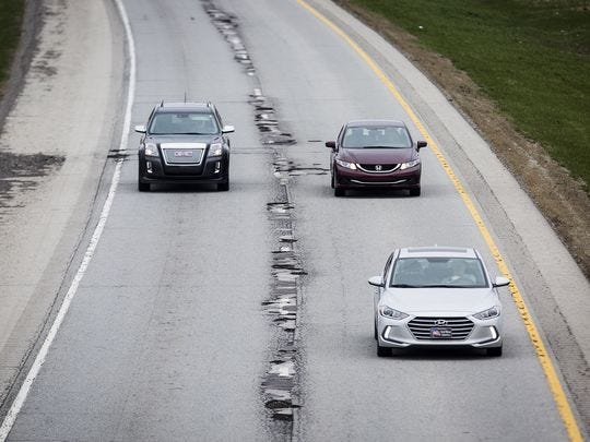 This rough section of Interstate 69 between Anderson and Daleville has been patched, but won't be more permanently fixed until next year