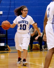 Holloway's Aaliyah Morales (10) pushed the ball upcourt during the game against Central Magnet's JV at Holloway on Thursday, Dec. 6, 2018.