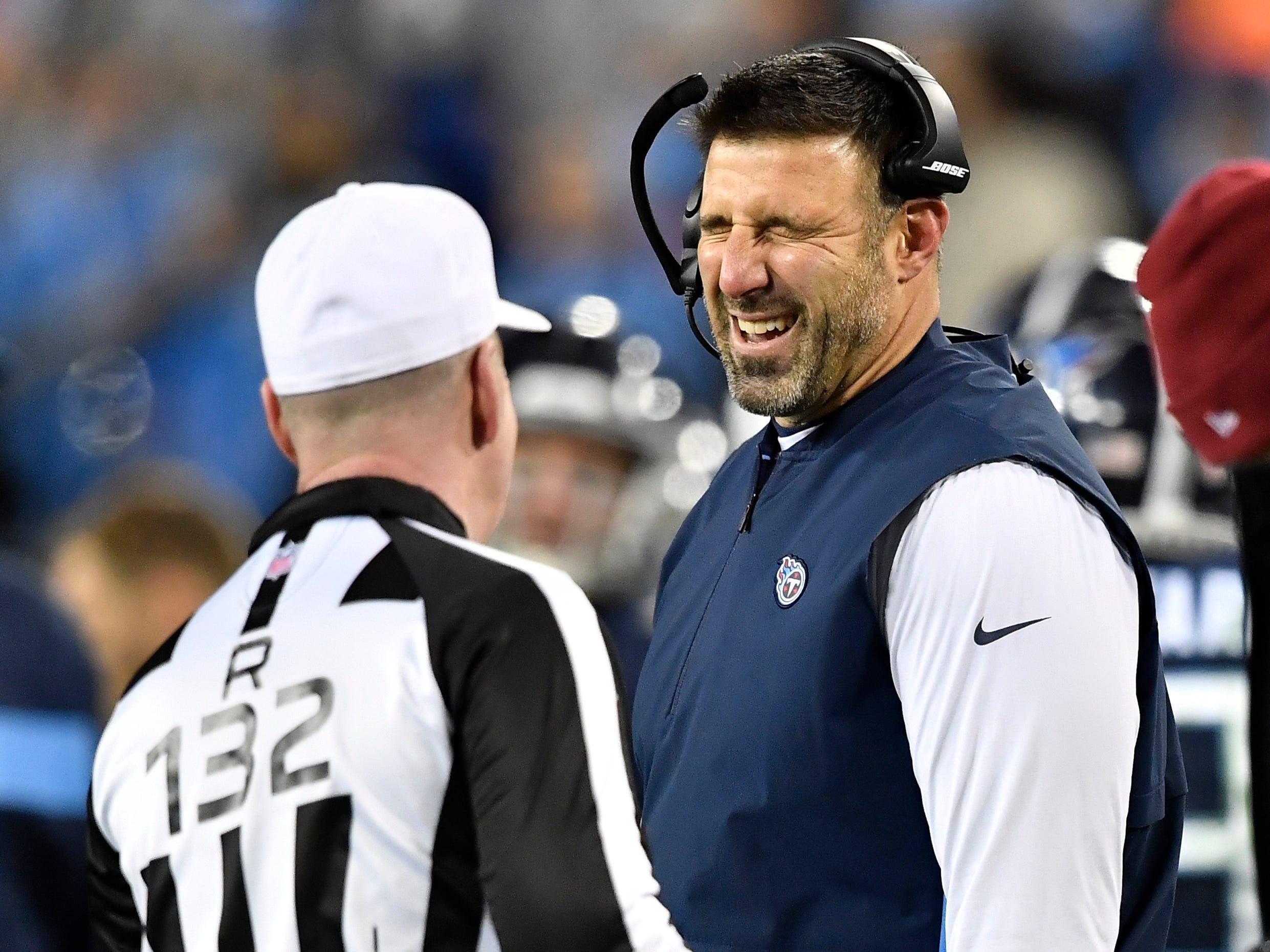 Titans head coach Mike Vrabel argues a call in the third quarter at Nissan Stadium Thursday, Dec. 6, 2018, in Nashville, Tenn.