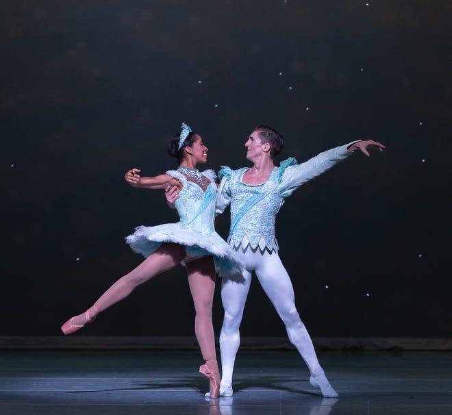 "Kayla Rowser as the Snow Queen and Nicolas Scheuer as the Snow King in the Nashville Ballet production ""Nashville's Nutcracker."""