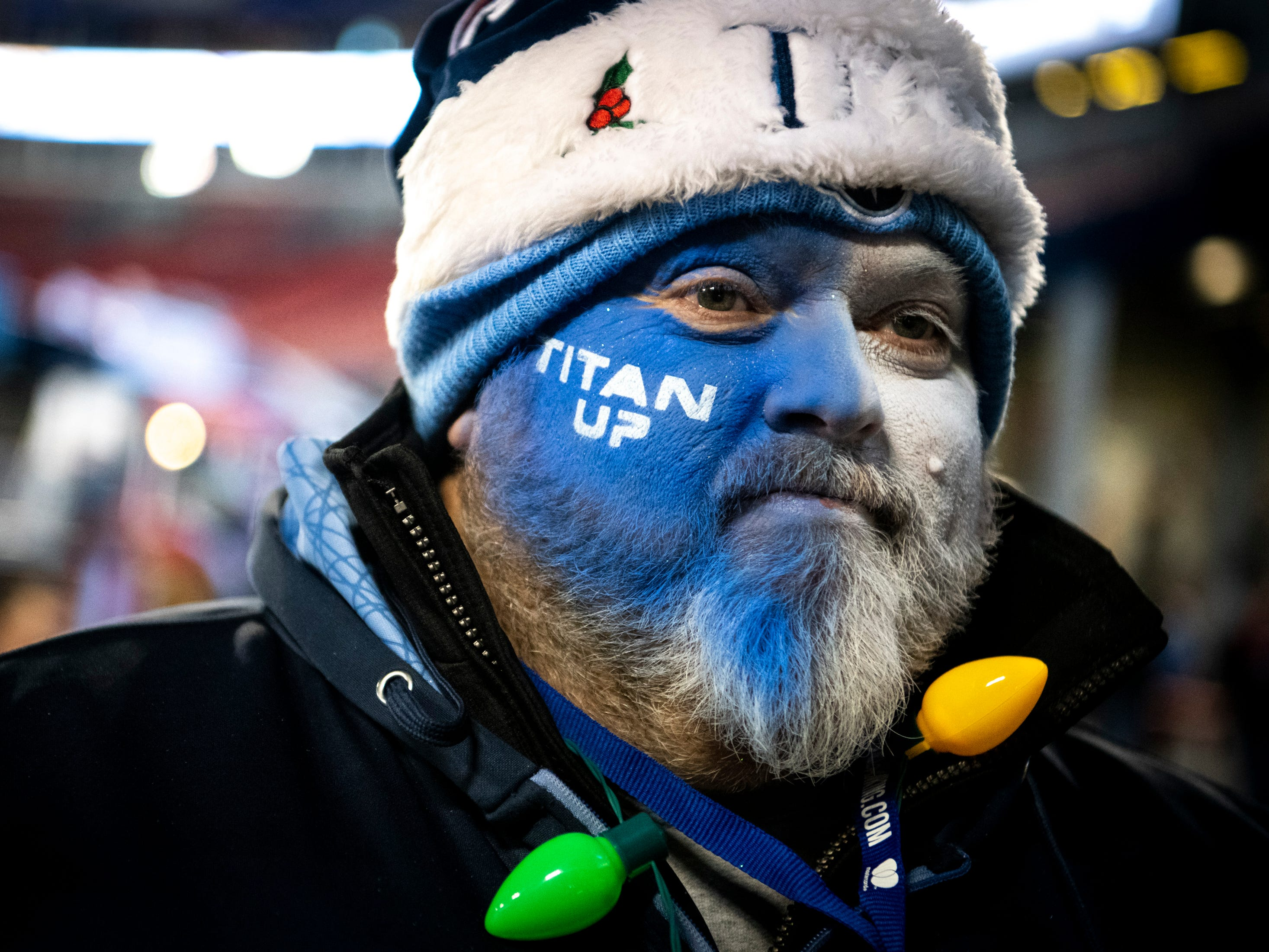 Richard Brewer, Loretto, Tenn., wears a Titans Santa hat before the game between the Tennessee Titans and the Jacksonville Jaguars at Nissan Stadium in Nashville, Tenn., Thursday, Dec. 6, 2018.